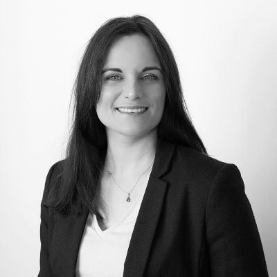 Black and white picture of Solicitor Laura Harwood