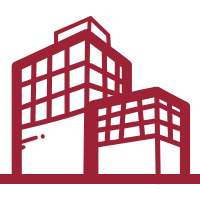 Vector art of a red office building