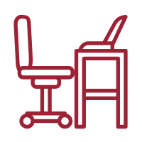 Vector art of a red desk, chair and laptop