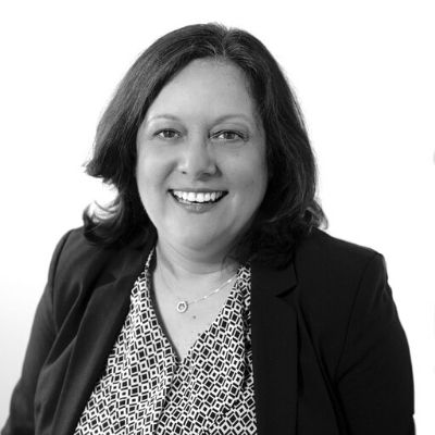 Black and white photo of Chartered Legal Executive Debbie Hawkins