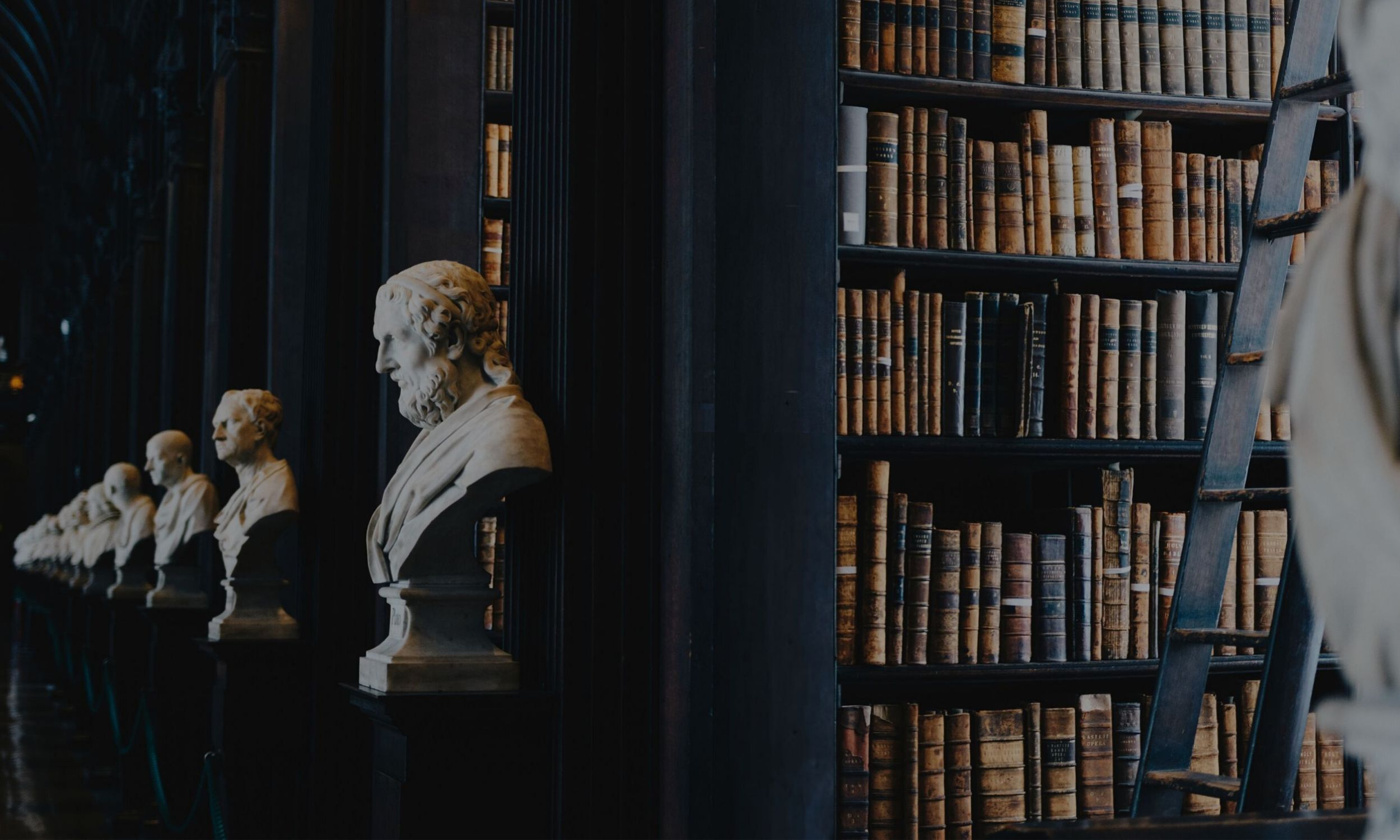 A number of marble busts of philosophers in a library with lots of old looking books